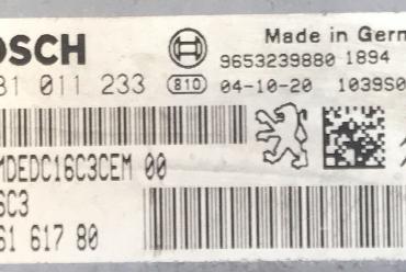 Bosch Engine ECU, HDI, Citroen Xsara Picasso 1.6HDi, 0 281 011 233, 0281011233, 96 561 617 80, 9656161780, 1039S06182, EDC16C3