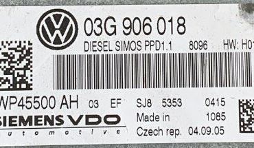 VW Passat 2.0 TDI, 03G906018, 03G 906 018, 5WP45500 AH, PPD1.1