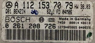 Bosch Engine ECU, Mercedes-Benz, 0261208726, 0 261 208 726, A1121537079, A 112 153 70 79