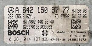 Bosch Engine ECU, Mercedes-Benz, 0281014197, 0 281 014 197, A6421509777, A 642 150 97 77, CR5.3