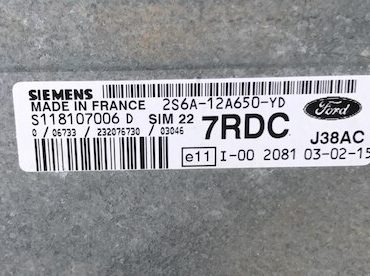 2S6A-12A650-YD, 7RDC, S118107006 D, SIM 22
