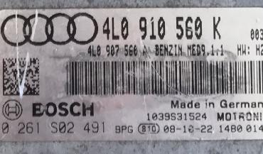 Bosch Engine ECU, Audi Q7 4.2, 0261S02491, 0 261 S02 491, 4L0910560K , 4L0 910 560 K , 1039S31524, MED9.1.1
