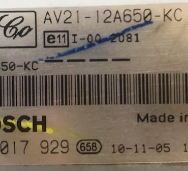 Bosch Engine ECU, FoMoCo, 0281017929, 0 281 017 929, AV2112A650KC, AV21-12A650-KC, 1039S36739