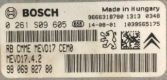 Bosch Engine ECU, 0261S09605, 0 261 S09 605, 9806982780, 98 069 827 80, 1039S65175, MEVD17.4.2