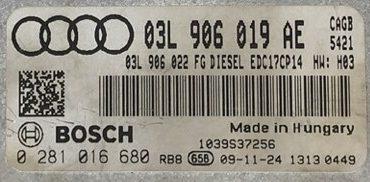 Audi A6 2.0 TDI, 0281016680, 0 281 016 680, 03L906019AE, 03L 906 019 AE, EDC17CP14