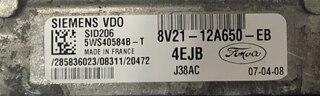 Siemens Engine ECU, Ford Fiesta 1.4 TDCI, SID206, 5WS40584B-T, 8V21-12A650-EB, 4EJB