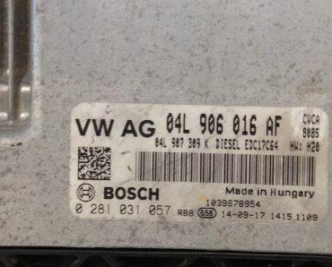 VW / Audi, 0281031057, 0 281 031 057, 04L906016AF, 04L 906 016 AF, EDC17C64, 1039S78954
