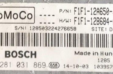 Bosch Engine ECU, 0281031869, 0 281 031 869, F1F1-12A650-JD, F1F1-12B684-AD, 1039S74823