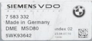 BMW, DME MSD80, 7583332, 7 583 332, 5WK93642, Index 02