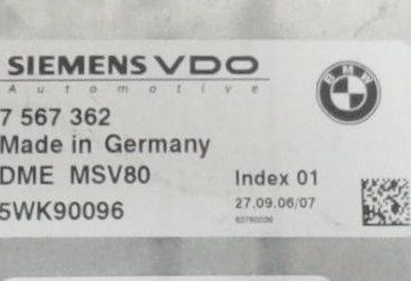 BMW, 7567362, 7 567 362, DME MSV80, 5WK90096, Index 01