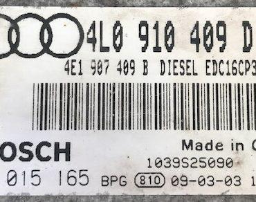 Bosch Engine ECU, Audi Q7 4.2 TDI, 0281015165, 0 281 015 165, 4L0910409D, 4L0 910 409 D, 1039S25090, EDC16CP34