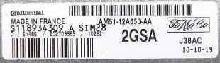 Ford, AM51-12A650-AA, S118934309A, S118934309 A, 2GSA, SIM28