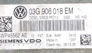 VW, 5WP45562AE, 5WP45562 AE, 03G906018EM, 03G 906 018 EM, PPD1.2
