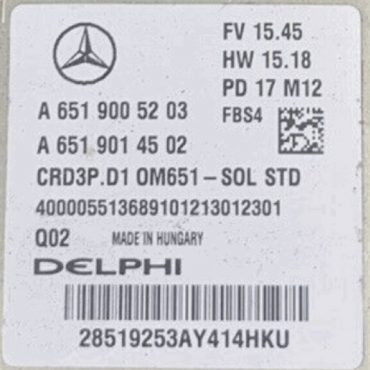 Delphi Engine ECU, Mercedes-Benz, A6519005203, A 651 900 52 03, A6519014502, A 651 901 45 02, CRD3P.D1 OM651-SOL STD