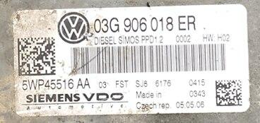 Siemens VDO Engine ECU, VW Passat 2.0TDi, 5WP45516AA, 5WP45516 AA, 03G906018ER, 03G 906 018 ER, PPD1.2