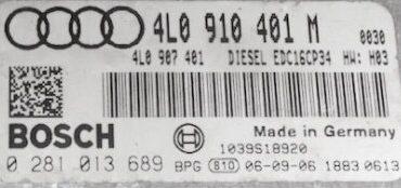 Audi Q7 3.0 TDI, 0281013689, 0 281 013 689, 4L0910401M, 4L0 910 401 M, EDC16CP, H04