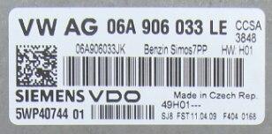 Siemens Engine ECU, VW Golf, 06A906033LE, 06A 906 033 LE, 5WP40744, SIMOS 7PP