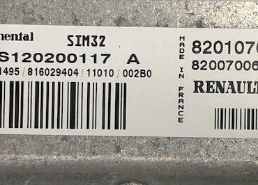 Renault Twingo, SIM32, S120200117A, S120200117 A, 8201076690, 8200700685
