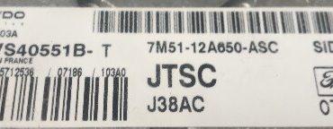 Ford Focus 2.0D, 5WS40551B-T, 7M51-12A650-ASC, J38AC, SID803A