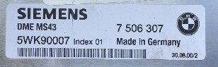 Siemens Engine ECU, BMW, 7506307, 7 506 307, 5WK90007, Index 01, DME MS43