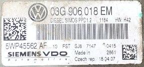 VW, 5WP45562AF, 5WP45562 AF, 03G906018EM, 03G 906 018 EM, PPD1.2