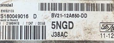 Ford Fiesta 1.6L, S180049016 D , BV21-12A650-DD, 5NGD, EMS2103
