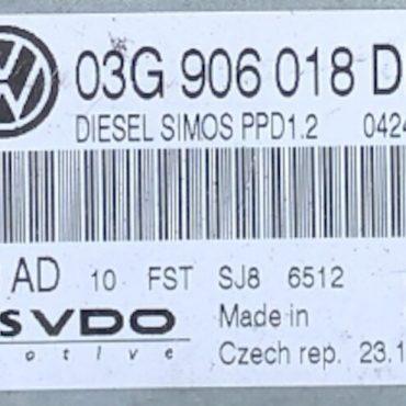 Siemens VDO Engine ECU, VW, 5WP45548AD, 5WP45548 AD, 03G906018DH, 03G 906 018 DH, PPD1.2