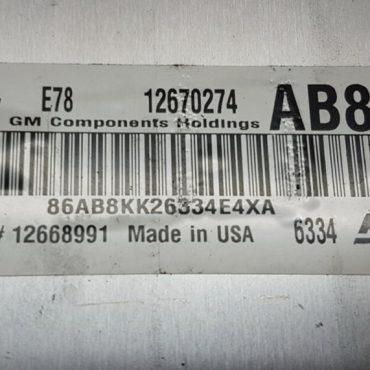 Vauxhall, Opel, 12670274, AB8K, E78, 12668991