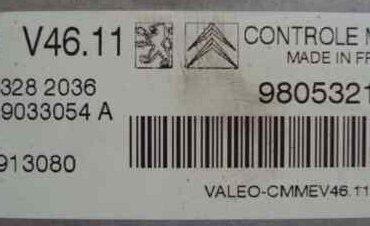 Valeo Engine ECU, Peugeot / Citroen, V46.11, V29033054 A, 9805321980, HW9800913080