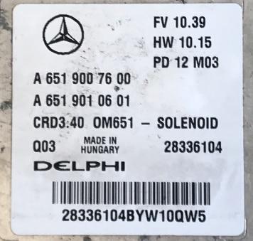 Delphi Engine ECU, Mercedes-Benz, A6519007600, A 651 900 76 00, A6519010601, A 651 901 06 01, 28336104, CRD3.40, OM651 - SOLENOID