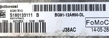 Ford, S180133111AB S180133111 B, BG91-12A650-DL, J38AC, SID 807 EVO