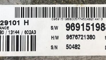 Continental Engine ECU, S180129101H, S180129101 H, S/W 9691519880, H/W 9676721380, SID208