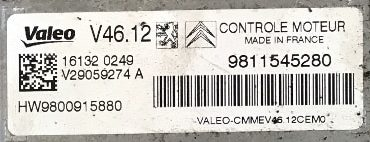 Valeo Engine ECU, Citroen C3 1.2, V46.12, V29059274A, 9811545280, HW9800915880