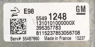 Vauxhall Zafira, 55491248, 1310101000000X, 395357783, 55487860, E98